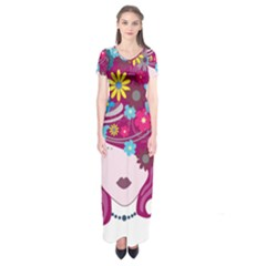Beautiful Gothic Woman With Flowers And Butterflies Hair Clipart Short Sleeve Maxi Dress