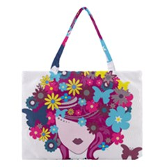Beautiful Gothic Woman With Flowers And Butterflies Hair Clipart Medium Tote Bag