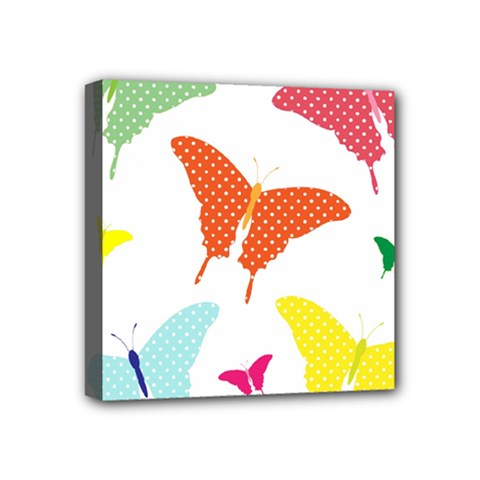 Beautiful Colorful Polka Dot Butterflies Clipart Mini Canvas 4  X 4