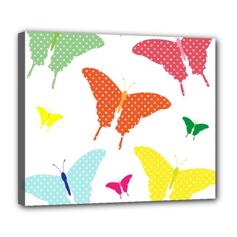 Beautiful Colorful Polka Dot Butterflies Clipart Deluxe Canvas 24  x 20