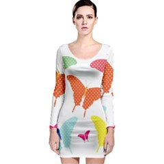 Beautiful Colorful Polka Dot Butterflies Clipart Long Sleeve Bodycon Dress
