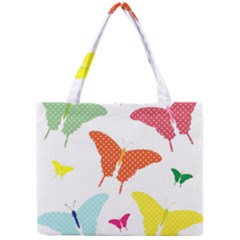 Beautiful Colorful Polka Dot Butterflies Clipart Mini Tote Bag