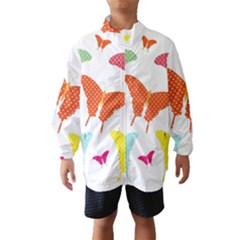 Beautiful Colorful Polka Dot Butterflies Clipart Wind Breaker (kids)