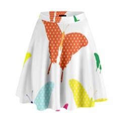 Beautiful Colorful Polka Dot Butterflies Clipart High Waist Skirt