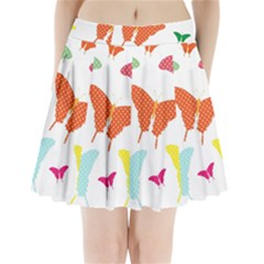 Beautiful Colorful Polka Dot Butterflies Clipart Pleated Mini Skirt