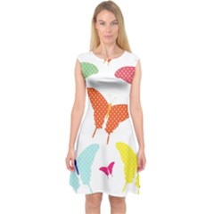 Beautiful Colorful Polka Dot Butterflies Clipart Capsleeve Midi Dress