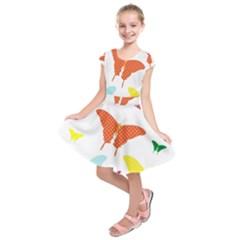 Beautiful Colorful Polka Dot Butterflies Clipart Kids  Short Sleeve Dress