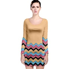 Chevrons Patterns Colorful Stripes Long Sleeve Bodycon Dress