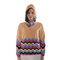 Chevrons Patterns Colorful Stripes Hooded Wind Breaker (women)