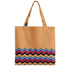 Chevrons Patterns Colorful Stripes Zipper Grocery Tote Bag