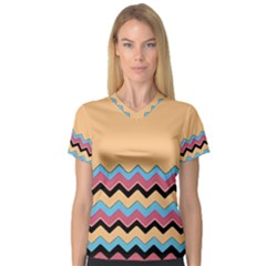 Chevrons Patterns Colorful Stripes Women s V-Neck Sport Mesh Tee