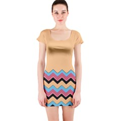 Chevrons Patterns Colorful Stripes Short Sleeve Bodycon Dress
