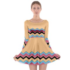 Chevrons Patterns Colorful Stripes Long Sleeve Skater Dress