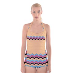 Chevrons Patterns Colorful Stripes Boyleg Halter Swimsuit