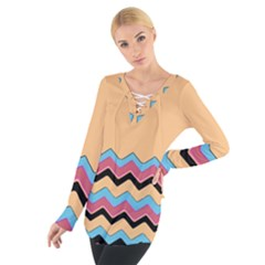 Chevrons Patterns Colorful Stripes Women s Tie Up Tee