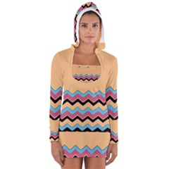 Chevrons Patterns Colorful Stripes Women s Long Sleeve Hooded T-shirt