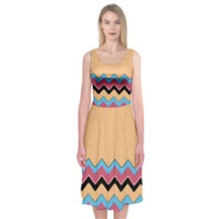 Chevrons Patterns Colorful Stripes Midi Sleeveless Dress