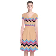 Chevrons Patterns Colorful Stripes Short Sleeve Front Wrap Dress