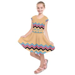 Chevrons Patterns Colorful Stripes Kids  Short Sleeve Dress
