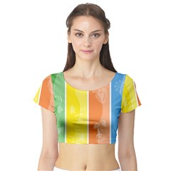 Floral Colorful Seasonal Banners Short Sleeve Crop Top (tight Fit)
