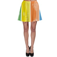 Floral Colorful Seasonal Banners Skater Skirt