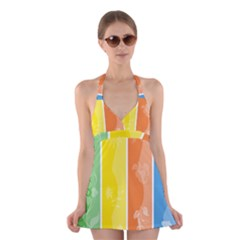 Floral Colorful Seasonal Banners Halter Swimsuit Dress
