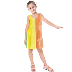 Floral Colorful Seasonal Banners Kids  Sleeveless Dress