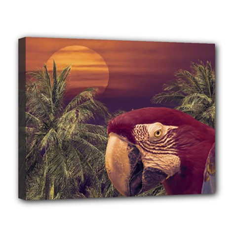 Tropical Style Collage Design Poster Canvas 14  x 11
