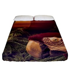 Tropical Style Collage Design Poster Fitted Sheet (California King Size)