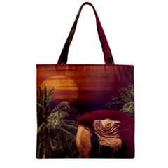 Tropical Style Collage Design Poster Zipper Grocery Tote Bag