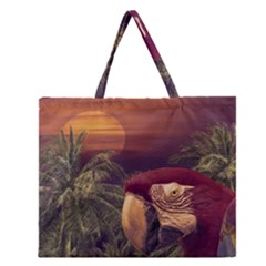 Tropical Style Collage Design Poster Zipper Large Tote Bag
