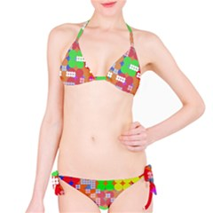 Abstract Polka Dot Pattern Bikini Set