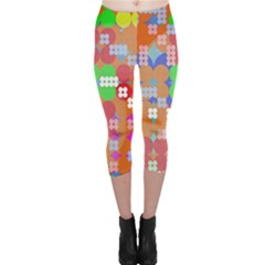 Abstract Polka Dot Pattern Capri Leggings