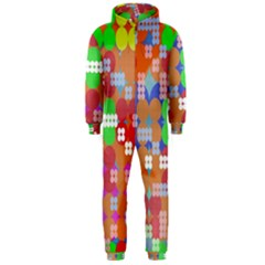 Abstract Polka Dot Pattern Hooded Jumpsuit (Men)