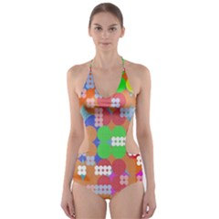 Abstract Polka Dot Pattern Cut-Out One Piece Swimsuit