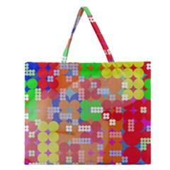 Abstract Polka Dot Pattern Zipper Large Tote Bag