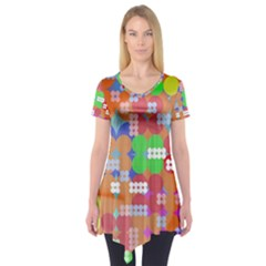 Abstract Polka Dot Pattern Short Sleeve Tunic