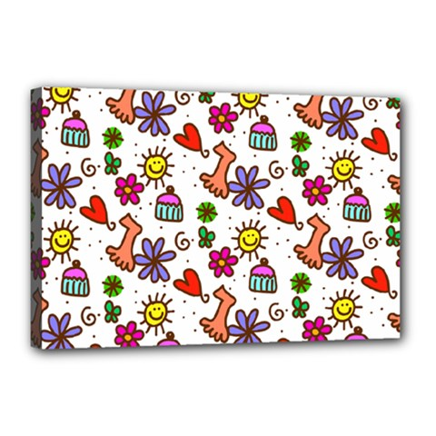 Cute Doodle Wallpaper Pattern Canvas 18  x 12