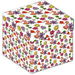 Cute Doodle Wallpaper Pattern Storage Stool 12
