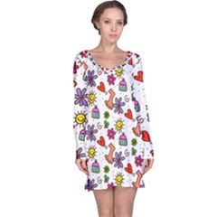 Cute Doodle Wallpaper Pattern Long Sleeve Nightdress