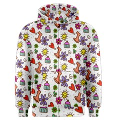 Cute Doodle Wallpaper Pattern Men s Zipper Hoodie