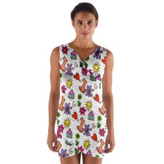 Cute Doodle Wallpaper Pattern Wrap Front Bodycon Dress