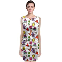 Cute Doodle Wallpaper Pattern Classic Sleeveless Midi Dress