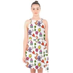Cute Doodle Wallpaper Pattern Halter Collar Waist Tie Chiffon Dress