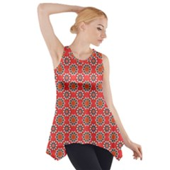 Floral Seamless Pattern Vector Side Drop Tank Tunic
