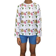 Handmade Pattern With Crazy Flowers Kids  Long Sleeve Swimwear