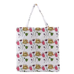 Handmade Pattern With Crazy Flowers Grocery Tote Bag