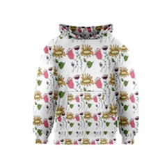 Handmade Pattern With Crazy Flowers Kids  Pullover Hoodie
