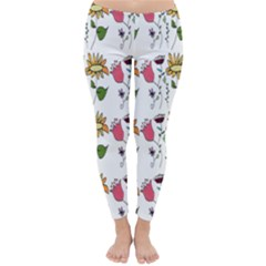 Handmade Pattern With Crazy Flowers Classic Winter Leggings