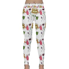 Handmade Pattern With Crazy Flowers Classic Yoga Leggings